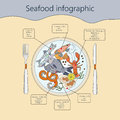 Seafood infographic. Vector.
