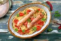 Seafood Italian pasta with mantis shrimp, or sea cicadas Royalty Free Stock Photo