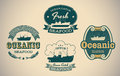 Seafood labels set of retro styled including an image of fisherman boat editable vector Royalty Free Stock Photo