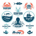 Seafood labels set of and signs Royalty Free Stock Images