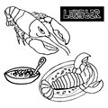 Seafood lobster the lobster bisque delicacies set of sea vector Royalty Free Stock Photo