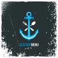 Seafood logo with anchor, fork and spoon