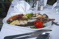 Seafood meal in an a la carte restaurant Stock Image