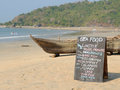 Seafood menu with the on the beach in india Royalty Free Stock Photos