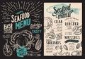 Seafood menu for restaurant. Vector food flyer for bar and cafe.