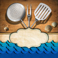 Seafood menu template wooden damaged boards with empty label kitchen utensils and stylized waves for recipes or Stock Images