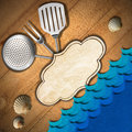 Seafood menu template wooden damaged boards with empty label kitchen utensils and stylized waves for recipes or Stock Photo