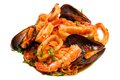 Seafood mixed saute with shrimps mussels and squids isoalted on white Stock Photography