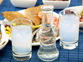 Seafood and ouzo Stock Images