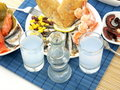 Seafood and ouzo Stock Photo