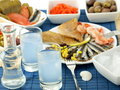 Seafood and ouzo Royalty Free Stock Image