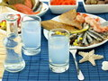 Seafood and ouzo Stock Image