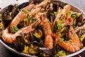 Seafood paella as closeup in a pan Royalty Free Stock Photo