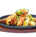 Seafood pan fried asian food of Stock Photography