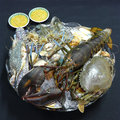 Seafood platter glass with large selection of different kind of thailand Royalty Free Stock Photo