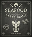 Seafood poster restaurant on chalkboard Stock Image