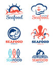 Seafood restaurant and fish logo vector set design