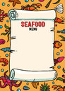 Seafood restaurant menu in cartoon style. Restaurant menu lobster, shrimps snails, sea cabbage and anchor. Hand-drawn