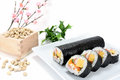 Seafood Rolled sushi and soy Royalty Free Stock Photo