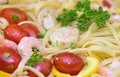 Seafood salad with fresh shrimps Royalty Free Stock Photo