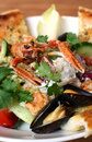 Seafood salad  lobster prawns Royalty Free Stock Image