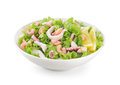 Seafood salad on white background. Royalty Free Stock Photo