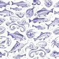 Seafood seamless pattern. Sketch fish hand drawn sea ocean marine tuna dorado sturgeon salmon menu natural texture