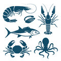 Seafood set of blue symbols in vector Royalty Free Stock Image