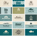 Seafood set of business cards on Stock Images