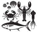 Seafood silhouette set. Lobster prawn, crab, tuna fish, shellfis Royalty Free Stock Photo