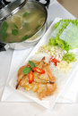 Seafood soup and prawn for dinner Royalty Free Stock Images