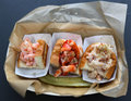 Seafood trio shrimp roll lobster roll and crab roll Royalty Free Stock Photos