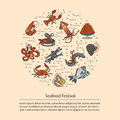 Seafood vector card with symbols of various delicacies