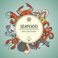 Seafood vector card with symbols of various delicacies.