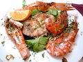 Grilled seafoods Italian dish for summer Royalty Free Stock Photo