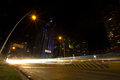 Seafront avenue at night in panama city with long time exposure Royalty Free Stock Photo