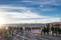 Seafront promenade naples italy february people walking on Stock Image