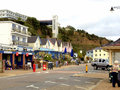 Seafront shanklin isle of wight hotels and cliff lift on the wght england uk Stock Image