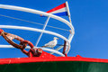 Seagull on a fishingboat the forepart of fishing ship Stock Photo
