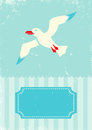 Seagull retro illustration of on turquoise background Stock Image