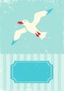 Seagull retro illustration of on turquoise background Stock Image