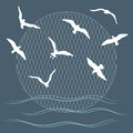 Seagulls over waves illustration with and can be used for graphic design textile design or web design each element is grouped Royalty Free Stock Photo