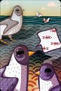 Seagulls talking about fish birds raster illustration Stock Photo