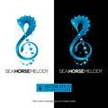 Seahorse music concept with treble clef. vector illustr