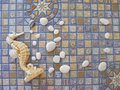 Seahorse and pebbles frame on mosaic background Royalty Free Stock Photo