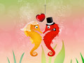 Seahorses in love in the ocean Royalty Free Stock Photo