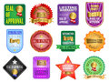 Seal of approval labels and satisfaction guaranteed illustration Royalty Free Stock Photography