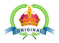 Seal crown with laurel leaves Royalty Free Stock Images
