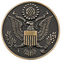 Seal of the us close up a bronze plaque a great united states front view clipping path Stock Images