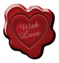 Sealed with love illustration of a wax seal that says represents that something was sent endearment Stock Image